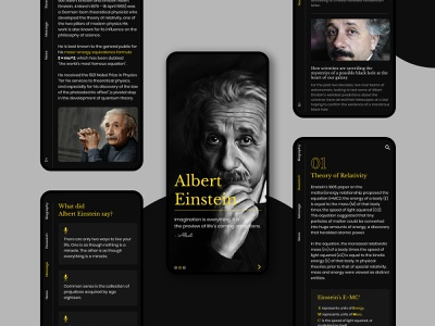 Biography Albert Einstein photoshop figma mobile uiux biography albert einstein biography albert einstein albert einstein biography mobile ui design science mobile app design mobile ui