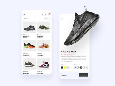Shoes Mobile App Concept uidesign mobile app nike ecommerce sport shoes minimal shoes app design mobile app design mobile ui