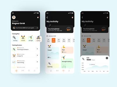 Fitness App UI dashboard app minimal flat ios app design mobile app design