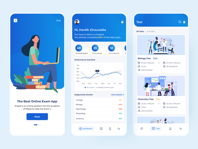Prepal Online Exam Mobile Dashboard Concept exam online education online exam dashboard ui design dashboard ui dashboard mobile dashboard mobile app design mobile design