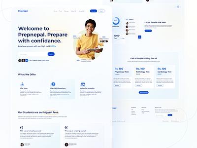 Prepnepal Online Exam Landing Page design glassmorphism web design online exam mcq educational uidesign webdesign learning app landing page design landingpage education app