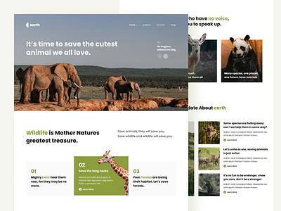 Earth - Save Wildlife Homepage nature minimal website design pets save animals landingpage save wildlife animals ui