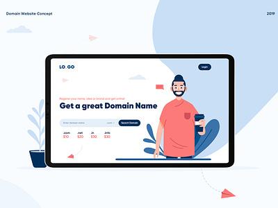 Domain & Hosting web UI landing page design webuiuxdesign website graphics design minimal art flat