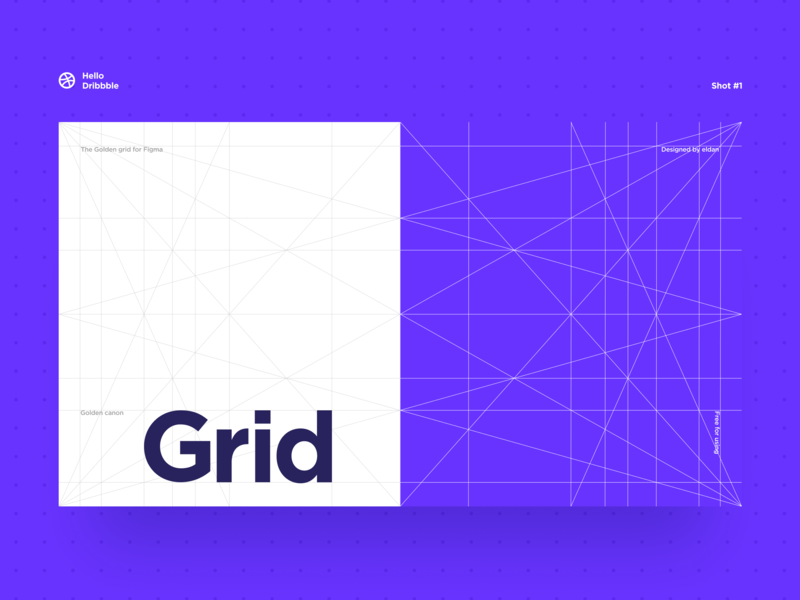 Golden grid for Figma hello dribbble minimal flat design freebie free web ux ui figma layout grid clean blue blue and white golden ratio golden grid