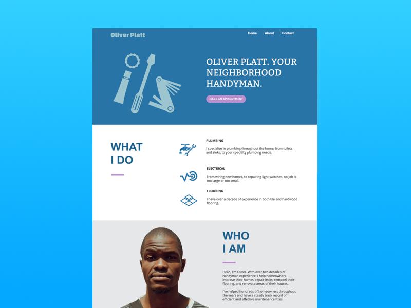 Landing page for handyman website by Ash Blankenship - Dribbble