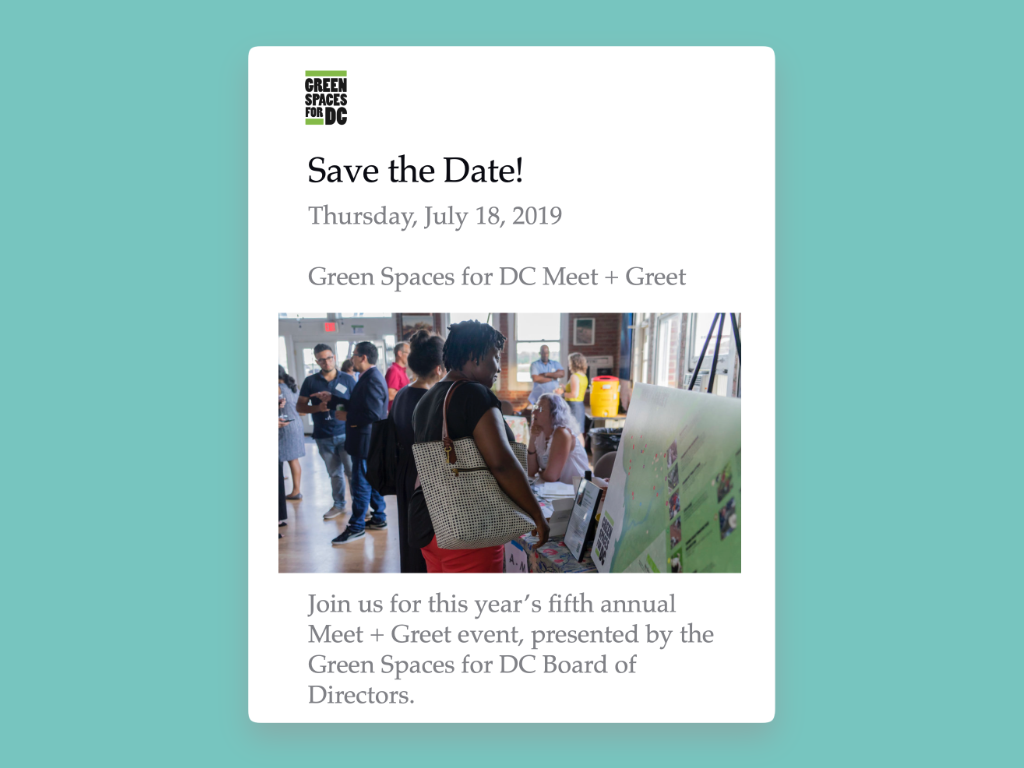 Simple email campaign for Green Spaces for DC squarespace email campaign email