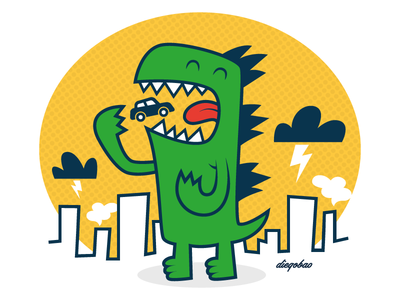 Stop the Traffic apocalypse illustration destruction monster cute kawaii design character