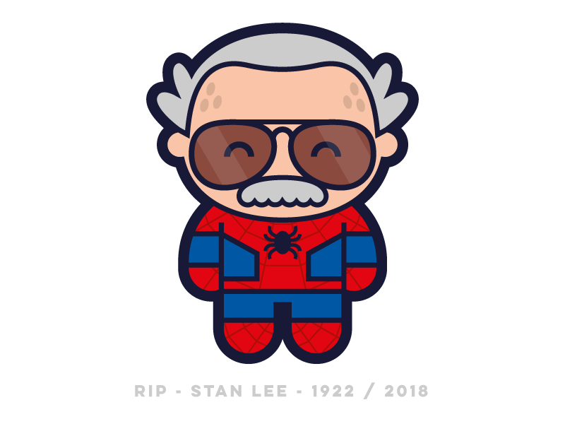 Bye Stan 2018 rip tribute stanlee flatdesign flat logo design cute character vector character design illustration