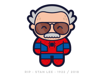 Bye Stan 2018 rip tribute stanlee flatdesign flat logo design cute character vector character design illustration