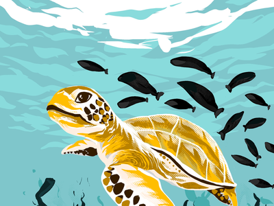 Sea turtle..! art of the day procreateapp dribbble original art work my art gallery art lovers daily updates daily warmup ui graphics digital illustration digitalart art artist drawing digital underwater illustration