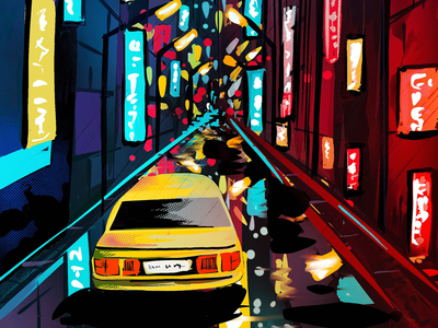 Night Street... procreateart buildings city artist art graphic design indian illustrators painting digital drawing digitalart digital illustration graphics ui art work ui drawing procreateapp illustration design