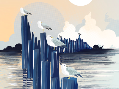 Gulls in row... we app ui design graphics design ui illustration artists illustrated daily warm up daily practice procreate art my art gallery art lovers draw art of the day digital artist digital drawing digital painting artwork drawing digital illustrations