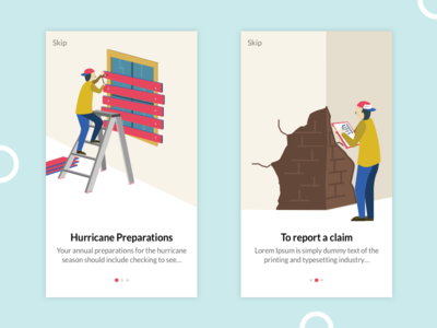 Onboarding illustrations exzeo art creative app mobile ux ui design hurricane insurance illustrations onboarding