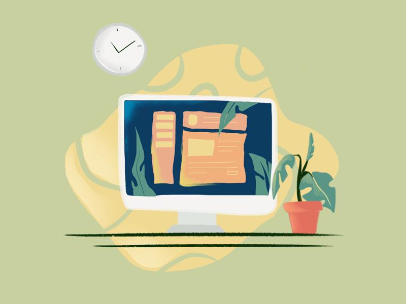 Workplace!! landingpage website banner style flat ux app graphic art onboarding ui dailychallenge procreate art illustrations