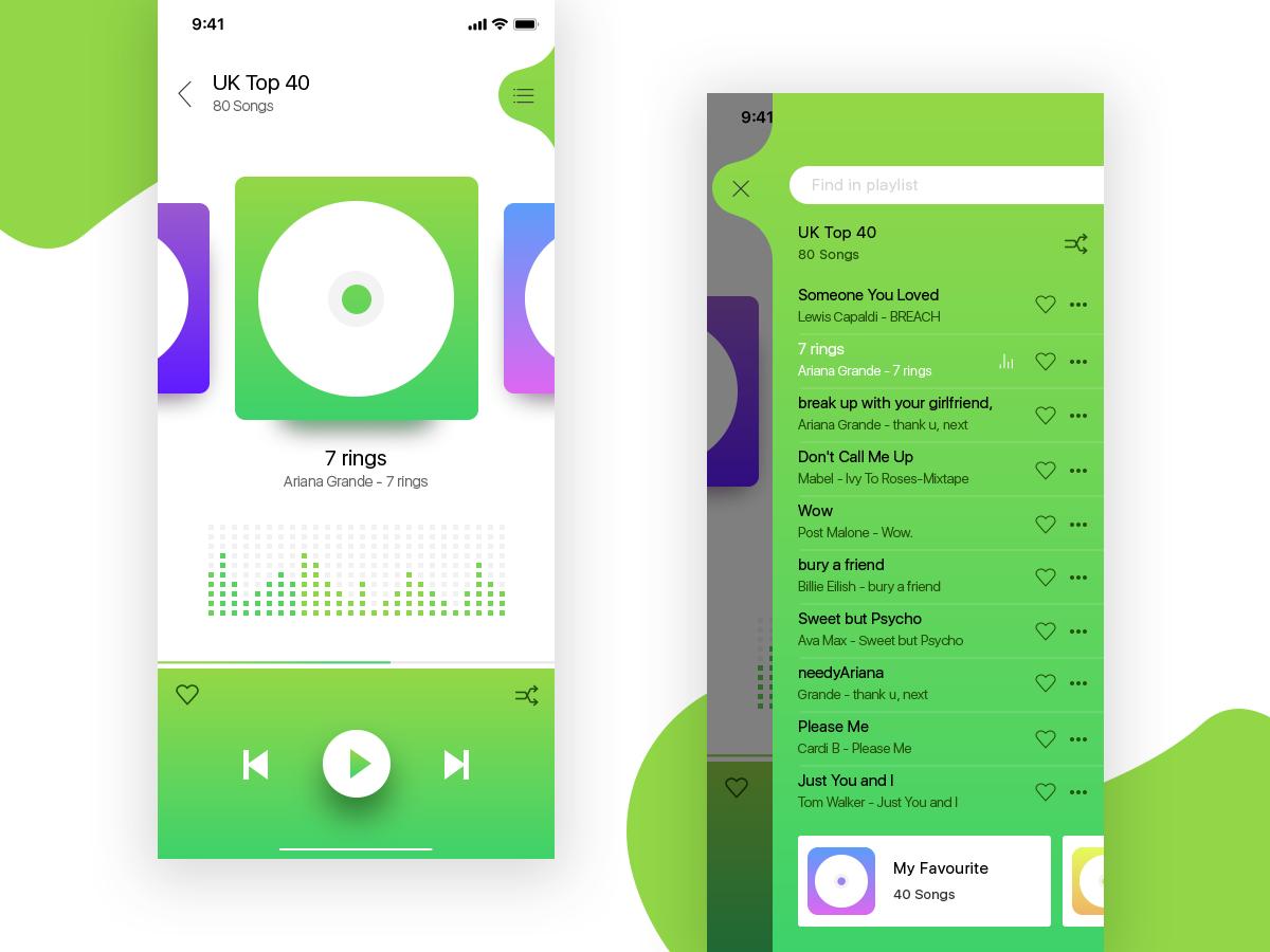 Music app UI dailyui design vector graphics illustration flatui cleanui concept ios app musicapp albums shuffile playlist que bright colors interaction ui  ux design uidesign music app