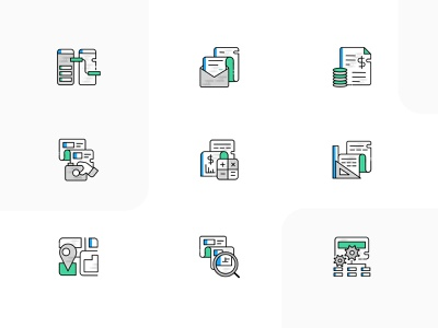 Icon Set...! icon set illustrations branding ux ui app design finance inbox letters maps rule engine accounting inspection claims product icons product features insurance app icons feature product