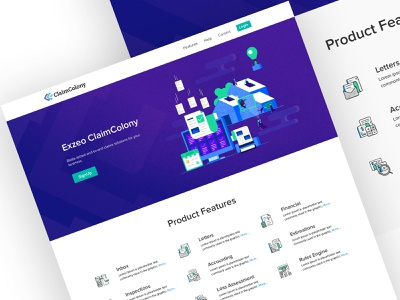 ClaimColony - Landing Page. features page claims insurance app product design application app graphics information architecture uidesign icons iconset simple design flatui illustrations ux ui landing page website