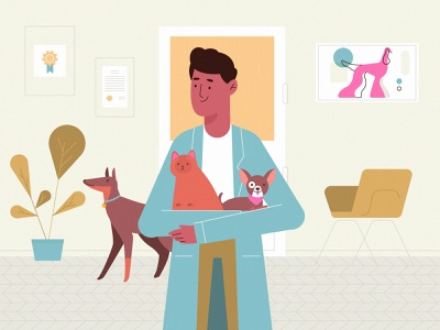 style frame for vet magazine explainer cat doctor vet room dog pet character design minimal abstract vector flat animation design 2d art illustration explainer character