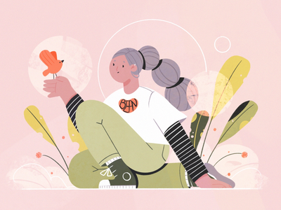 Observing woman character design abstract nature leaf green illustration bird plants flower girl character