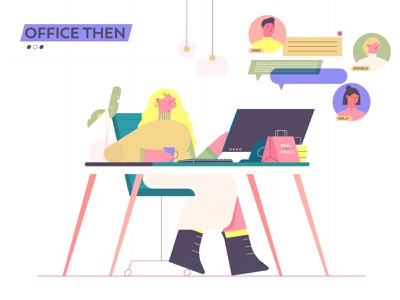 office then stayhome office vector character design animation flat design abstract 2d art explainer illustration character