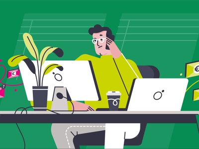 Busy boy vector character design animation flat design abstract 2d art explainer illustration character