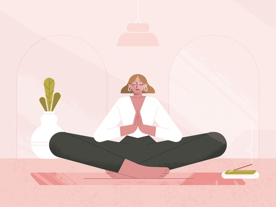 Noodle thoughts healing spiritual selflove selfcare mindset mind relax calm peace pastel plant room yoga namaste character woman girl lady meditation
