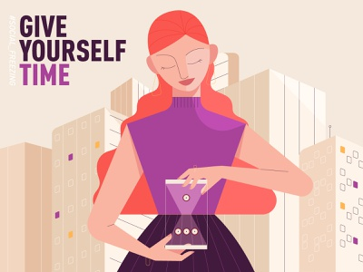 give yourself time busy woman time buildings town city clock character design girl character illustration flat explainer design 2d art