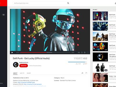 YouTube Redesign redesign mario maruffi google ui videos youtube dark red player app web interface