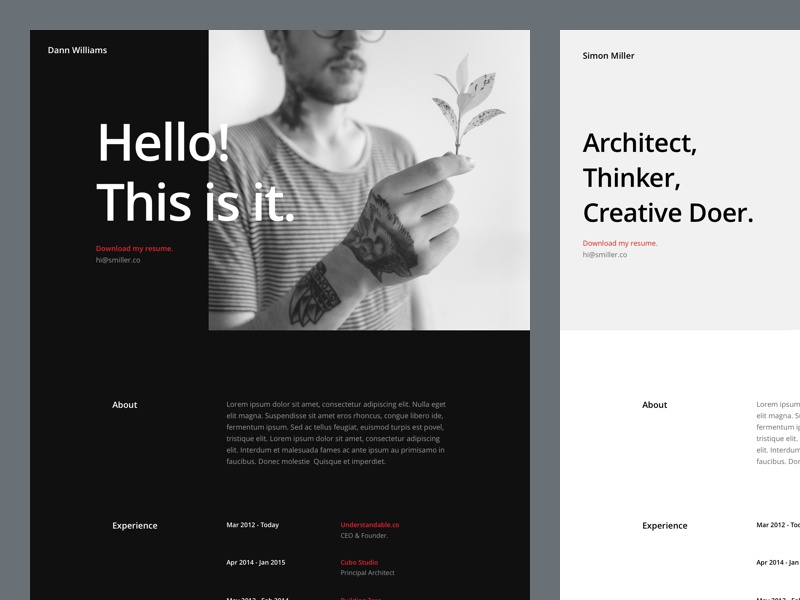 cv resume page by mario maruffi for elegant themes on dribbble