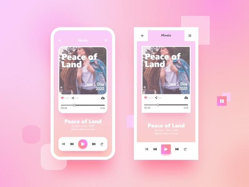 Music Player fade pinky gradient pink musical app design adobe illustrator photoshop adobe xd adobexd veedstudio studio player music art music music player music app uidesign ui