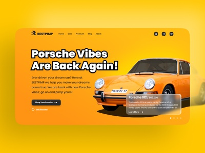 BESTPIMP - Porsche Vibes branding web design website landing page black orange yellow graphic design logo design logodesign logo graphicdesign ui design adobe photoshop figma userinterface ux ui