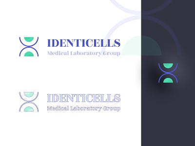 IDENTICELLS LOGO - Medical light dark violet green design netherlands figmadesign figma typogaphy logotype logo design medicine medical logo