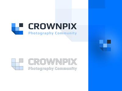 CROWNPIX LOGO - Photography logo design light blue grey blue figma crown logo logo pixel art photography
