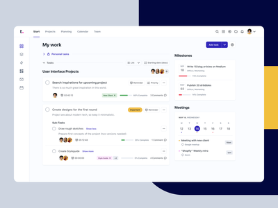 Teamwork - Dashboard concept redesign progress todolist task manager tasks todo teamwork dashboard grid web saas app saas webdesign app ui white design clean minimal