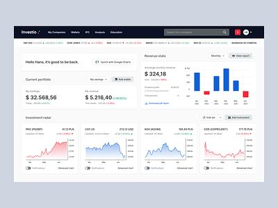 Investio: Stock app dashboard finance app interface dashboard product design currency stock money fintech autentika