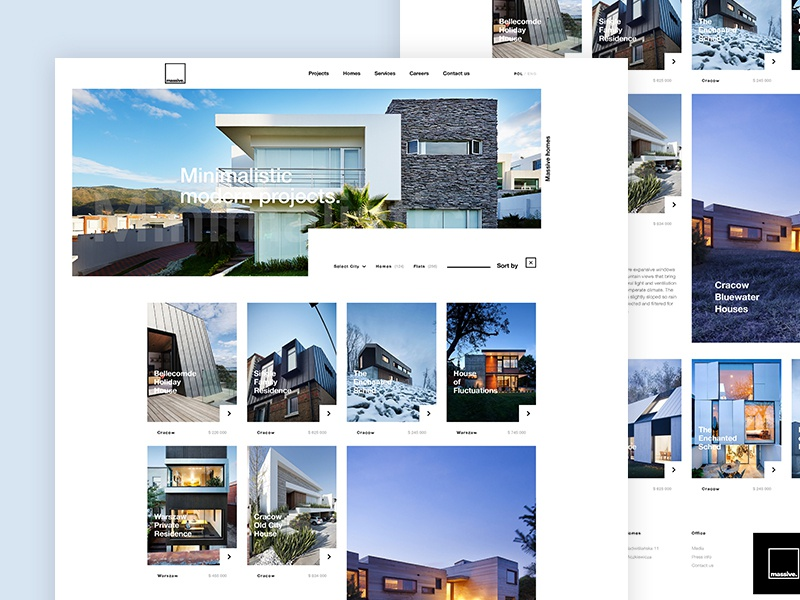 Massive Houses clean white minimalistic modern webdesign web