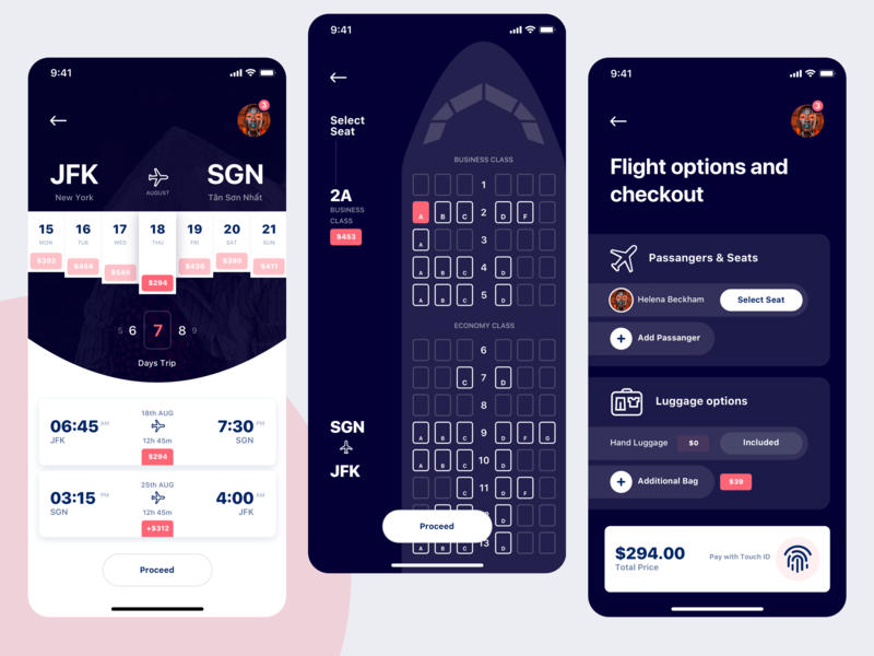 Travel App travel app flight app flight search flight booking checkout select seat seats app transport tickets plane travel flight