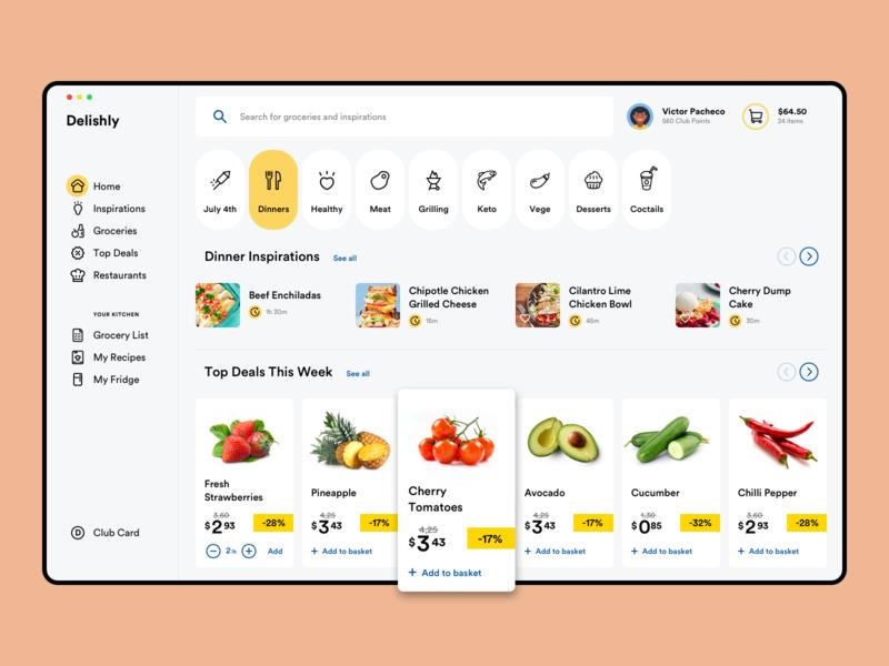 Delishly Dashboard restaurant order recipes search food minimal application mac app delivery groceries grocery dashboard web app clean ux ui saas app