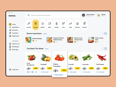 Delishly Dashboard restaurant order recipes search food minimal application mac app delivery groceries grocery dashboard web app clean ux ui saas app