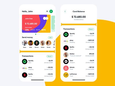 Fintech app cash card transactions bank ux colors minimal money clean app ui fintech