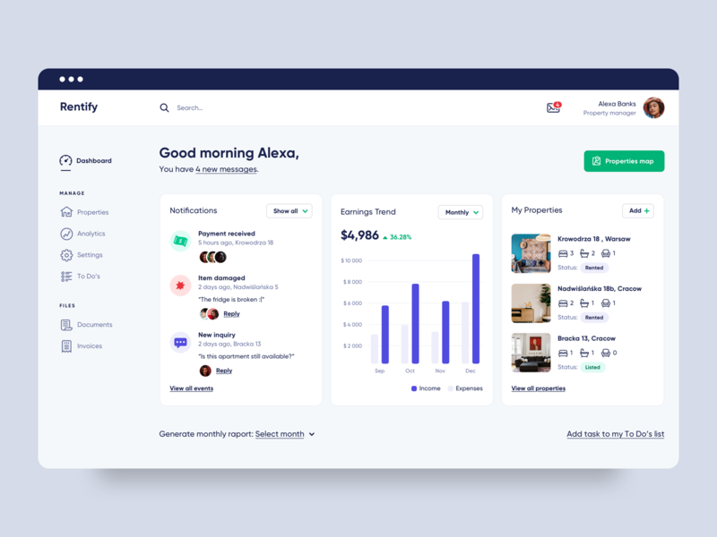 Rentify Dashboard rent web app real estate property earnings messages notifications renting app design minimal clean property management aplication interface ui ux dashboard app
