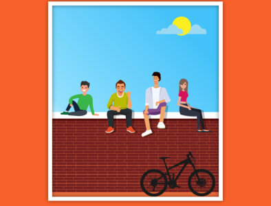 Sitting on the wall and Chatting with Friends graphic design logo design graphic  design illustration graphic creativity graphic design illustrator graphic design