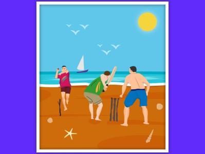 Beach cricket is always Fun graphic  design creativity cricket beach illustration graphic design illustrator graphic graphic design