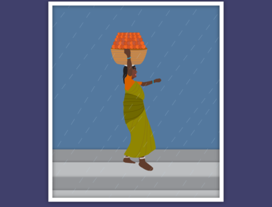 Fruitseller in rain rain creativity illustration graphic design illustrator graphic graphic design