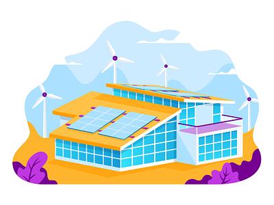 Solar Energy panels roof landing illustration house graphics building builder alternative windmill energy solar