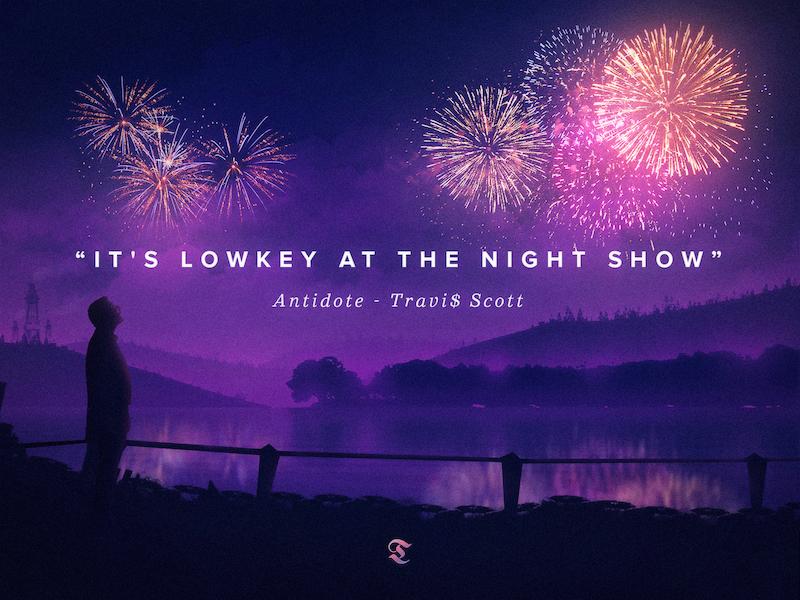 a lowkey night show silhouette man illustration landscape mountains lake firework rap hiphop travis scott