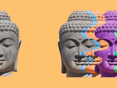 Open compositions motion design studio animator animation studio colorful statue god faces 2d art animation 2d buddhism india religion buddha slide composition open composition gif animated gif animation gif motion design