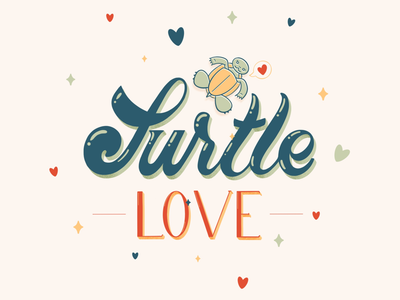 Turtle Love digital art graphics procreate lettering procreate digital lettering baby turtles turtles graphic design lettering