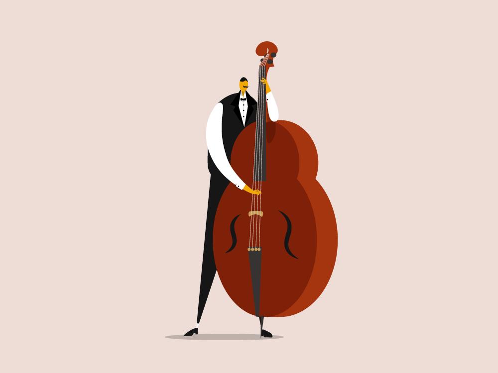 The Bassist mobile ios app website web vector ui minimal illustrator illustration flat design clean character art