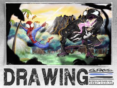 Un'Goro Spidey procreate illustration drawing draw hearthstone venom spiderman marvel sketch artist art fanart